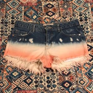 Free People Denim Dip Dye Shorts